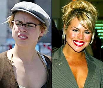 billie piper with and without makeup and a blow dry