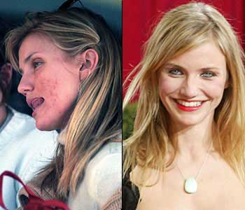 cameron diaz with and without makeup and a blow dry