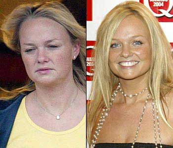 emma bunton with and without makeup and a blow dry