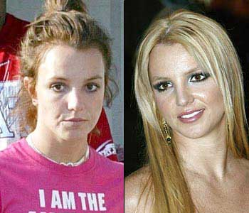britney spears with and without makeup and a blow dry